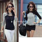 Shirt Tops Blouse Hollow Women Pullover Neck Long Sleeve Sweater Fitted N98B