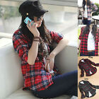 New Women Lapel Collar Casual Long Sleeve Plaids Checks Blouse Tops Shirt