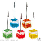 5 Place Card Holders - LIQUID FILLED Memo Cubes for WEDDINGS CAFES TABLE NUMBER