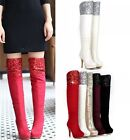 Womens Glitter Sequins Side Zip High Heel Over The Knee Boots Shoes Plus Size