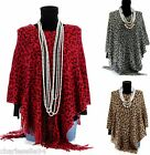 CharlesElie94 BENEDICTE Women's Leopard Print Winter Knitted Poncho Cape UK 8-18