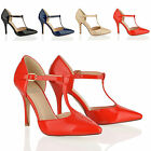 WOMENS LADIES FASHION STILETTO HEEL T BAR MARY JANE STRAP PARTY COURT SHOES SIZE
