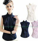 Fashion Women Sleeveless Ruffle Bowknot Neck Formal Slim Shirt Blouse Tops New