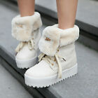 New Fashion Womens Fur Ankle Boots Lace Up Trifle Winter Snow Knight Shoes White