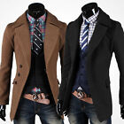 US FAST Vintage Mens Fit Trench Coat Winter Long Jacket Peacoat Overcoat Outwear