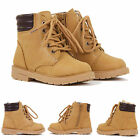 KIDS BOYS CASUAL LACE UP HI TOP ZIP WINTER COMFORT ANKLE BOOTS SHOES SIZE