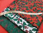 Christmas Fabric Fat 1/4 bundle Festive Hollyberry Leaves & Berries Polycotton
