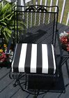 "Black and White Stripe Universal Patio Chair Seat Cushion- 3"" Thick -Choose Size"
