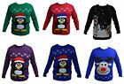 New Ladies Women Men's Xmas Christmas Penguin & Reindeer Retro Jumper Sweater