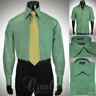 Stacy Adams Dress Shirt Dark Green w/ Black Piping High Collar & Cuffs