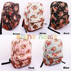 Women Girl Vintage Floral Flower Canvas Bag Schoolbag Backpack Shoulder Bookbag