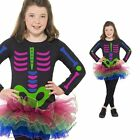 Girls Neon Tutu Skeleton Costume - Childrens Kids Halloween Fancy Dress Outfit
