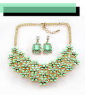 Women's European Style Green Flower Statement Rhinestone Necklace  and earings