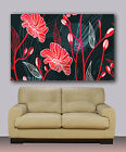 "Flower painting. black, red, Huge giclee canvas print. Abstract art 30""x40"""