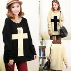 Womens Fashion Cross Pattern Knit Sweater Outerwear Crew Pullover Tops New 3797