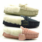 WOMENS LADIES FLAT LEATHER MOCCASINS SUEDE WARM REAL WOOL COMFORT SLIPPERS SIZE