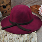 YH0020 Fedora Hat Floppy Cloche Girl's Vintage Soft  Wide Brim Wool Felt Bowler