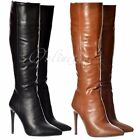 Womens Stiletto Work Party High Heel Pointed Toe Knee High Boot Black Brown Size