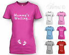 MUMMY'S WAITING FUN CUTE DESIGNER MATERNITY PREGNANT T SHIRT TSHIRT ALL SIZES