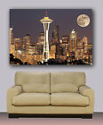 """Seattle night skyline Huge canvas print with moon Size 30""""x40"""""""