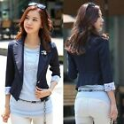 Womens Business Lapel Lace Cuff 3/4 Sleeves Waist-length Blazer Jacket Suit 4926