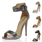 WOMENS STRAPPY LADIES OPEN TOE ANKLE BUCKLED GLITTER PARTY HEEL SANDALS SIZE 3-8