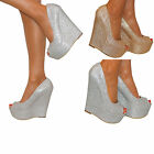 WOMENS GLITTER PEEP TOE PLATFORM WEDGE HIGH HEEL SLIP ON SHOE SANDAL PROM SIZE