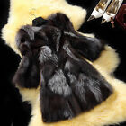 100% Real Genuine Silver Fox Fur Long Jacket Coat Outwear Fashion Vintage C0035