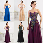 FREE SHIP Embroidery Peacock Cocktail Bridesmaid Evening Prom Formal Long Dress