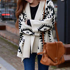 Women Geometric Wrap Cape Cardigan Sweater Knit Loose Irregular Coat  XZ0058