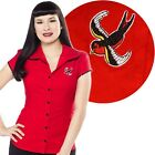 Red Sparrow Darling Top Retro Pin Up Rockabilly Office Swallow Tattoo Office