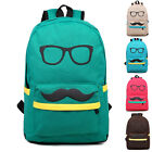 ❤UK DISCOUNT❤GIRLS Canvas Designed mustache Rucksack Backpack Travel Bags Sports