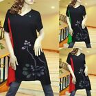 BLACK/RED/GREEN LOTUS PAINTING DRESS/TUNIC TOP 1700 SIZE M/L/XL/XXL
