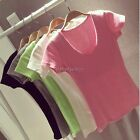 Hot Womens Basic Tee Cotton Short Sleeve V-Neck Lady T-Shirt Blouse Top One Size