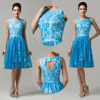 FREE SHIP Applique Lace Mother of the Bride Short Dress Prom Formal Evening Gown