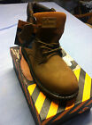 KINGSHOW Men's Brown Work & Safety Genuine Leather Boots Shoes Wide W) M-M8036-2