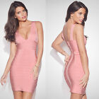 V Neck Bandage Bodycon Dress Evening Cocktail Party Prom Dress Pink 569# XS-L
