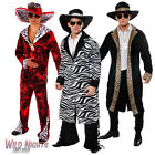 60s 70s BIG DADDY PIMP RAPPER GANGSTER FANCY DRESS COSTUME MENS WITH HAT