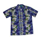 Hawaiian Luau White Ginger Flower Lavender Hawaiian Aloha Men Shirt-S,M,L,XL