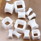 Pick Gauge White Flexible Silicone Square Ear Tunnel Plugs Expander Stretcher
