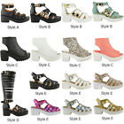 WOMENS LADIES CHUNKY BLOCK HEEL GLADIATOR SANDALS PLATFORM PEEP TOE SHOES SIZE