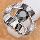 IMPRESSIVE BLACK Sapphire GEMSTONES SILVER RING Size 6 7 8 9 T6657