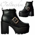 Womens Chunky Cleated Sole Platform Mid Heel Casual Ankle Boot Shoe Black Size