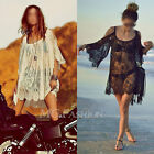Boho Hippie Embroidery Floral Lace Crochet Off Shoulder Mini Party Dress Tops