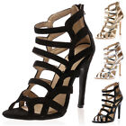 NEW WOMENS ZIP UP STRAPPY LADIES HIGH SLIM STILETTO HEELS SANDALS SHOES SIZE 3-8