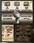 Oakland Raiders 3-Time Super Bowl Champions Rings of Honor Photo Card Plaque