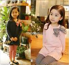 2pcs Baby Girl Kids Bowknot T-shirt Top+Legging Trousers Pant Outfit Clothes Set