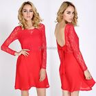 Sexy Women Backless Lace Dresses Red Lace Bowknot Dress for Prom Party