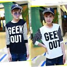 Women's Stripe Top Letters Cotton Loose T-Shirt Blouse Top Tee Long Sleeve  ItS7