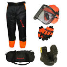 CHAINSAW SAFETY PROTECTION KIT, HELMET, TROUSERS, BOOTS GLOVES WITH HOLDALL